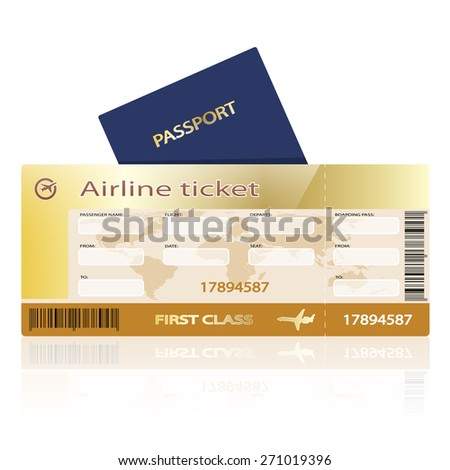Airline ticket and passport isolated on white background. Illustration.  - stock photo