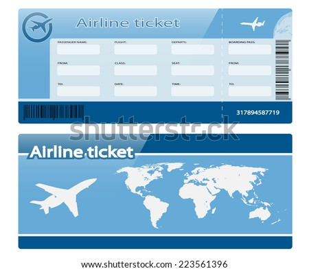Airline ticket isolated on white background. Illustration.