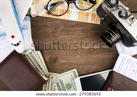 Airline tickets and documents - stock photo