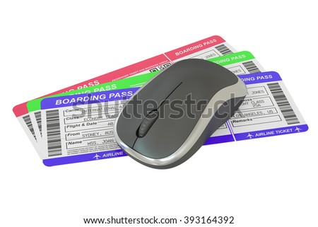 Airline tickets and mouse - Online booking concept - stock photo
