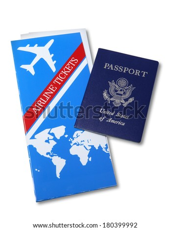 Airline Tickets and US Passport - stock photo