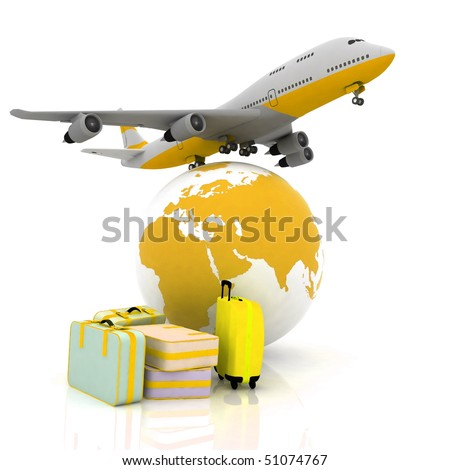 airliner and suitcases with a globe in the background - stock photo