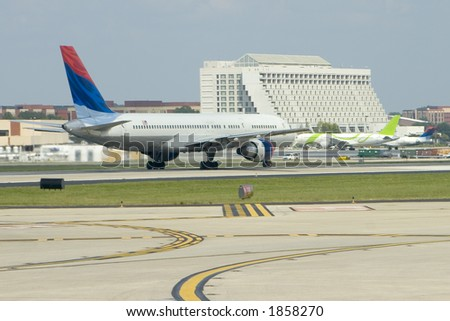 Airliner during takeoff roll - stock photo
