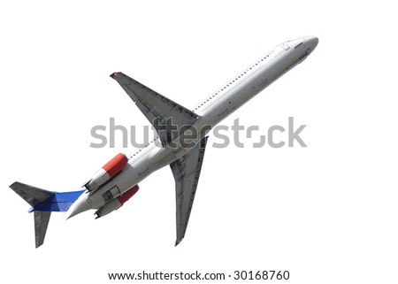 Airliner is taking off isolated on a clean white background - stock photo