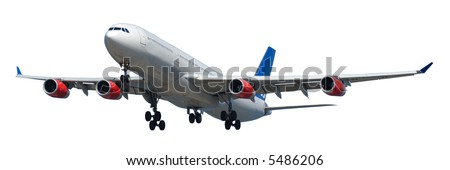Airliner on a clean white background. 1:3 - stock photo