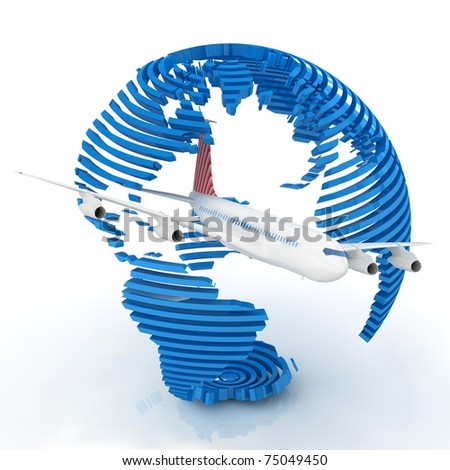 Airliner with a globe - stock photo