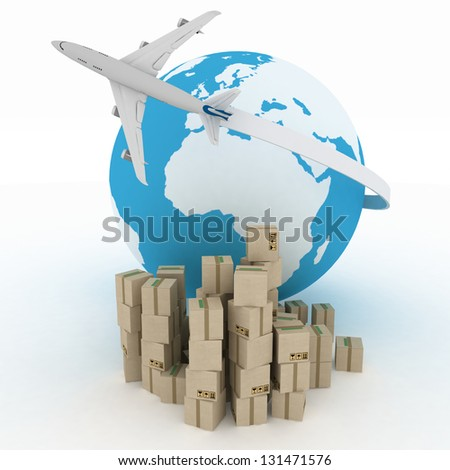 airliner with globe with boxes on white. 3d global business commerce concept - stock photo