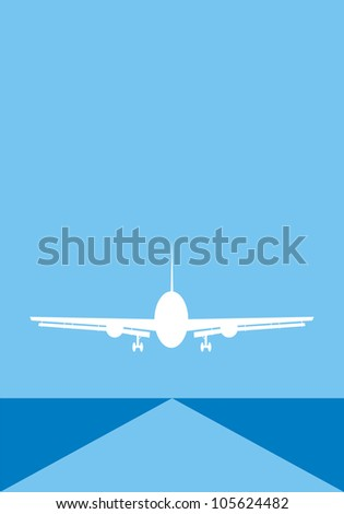 Airliner with runway on blue background - stock photo