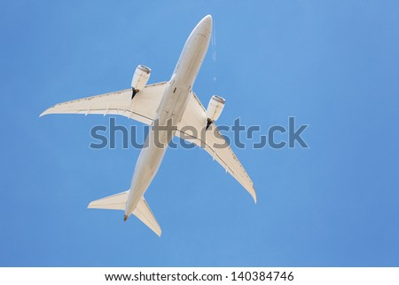 Airliners flying overhead - stock photo