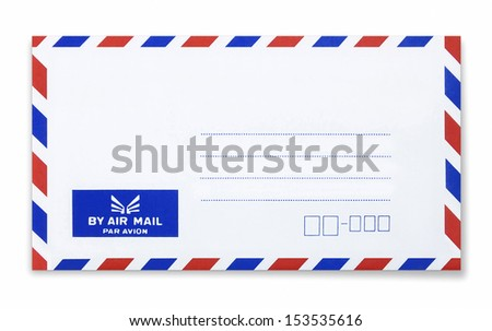 airmail envelope on white background