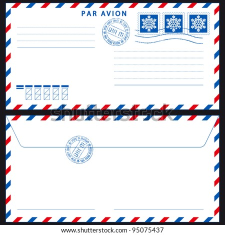 Airmail envelope with stamps on black - stock photo
