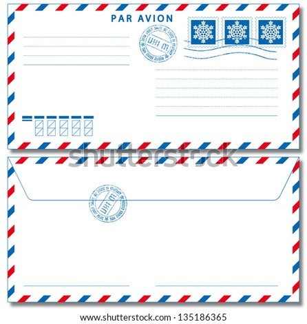 Airmail envelope with stamps. Vector illustration EPS10. Used Drop  Shadow effect.
