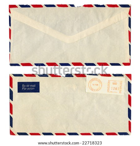 Airmail letter with UK postage meter stamp - stock photo