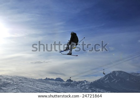 Airoski: a ski jumper jumping towards the sun, with ski lifts in the background