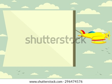 Airplane and banner - sky on background - stock photo
