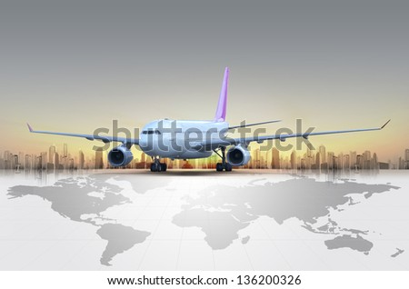 Airplane at sunset concept - stock photo