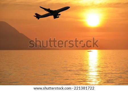 Airplane at takeoff - stock photo