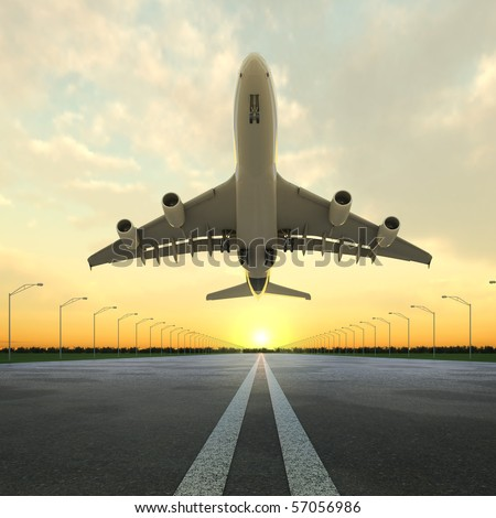 airplane at takeoff seen from the bottom in the airport landing strip at sunset. - stock photo