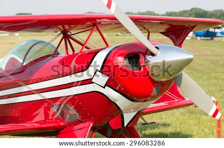 Airplane biplane - stock photo