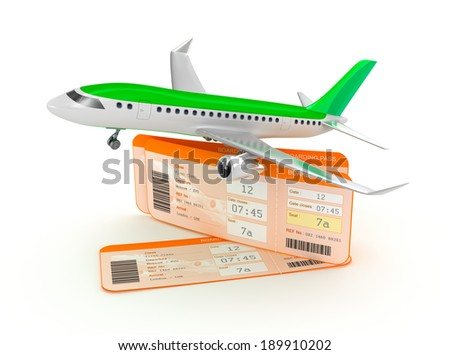 Airplane boarding pass tickets concept - stock photo