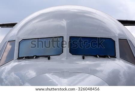 airplane cockpit closeup - stock photo