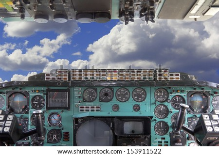Airplane Cockpit  Tu-144. - stock photo