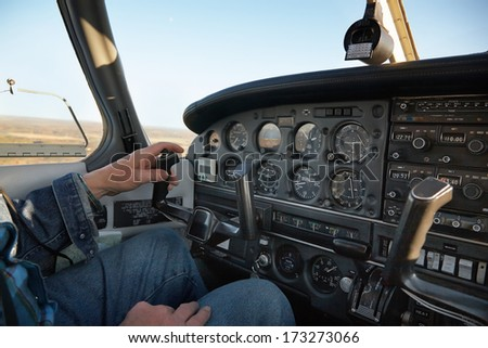 Airplane control panel view - stock photo