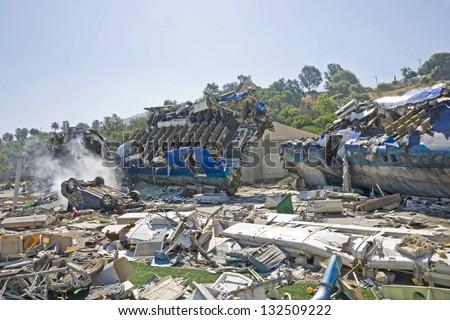 Airplane crash - stock photo