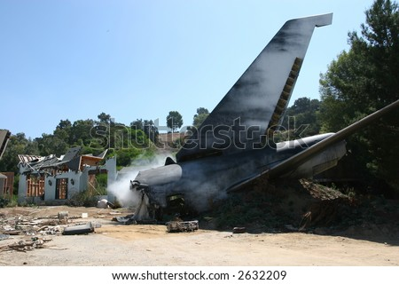 Airplane crash, scene from the movie - stock photo