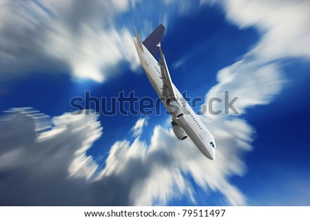 Airplane falling down the sky - stock photo