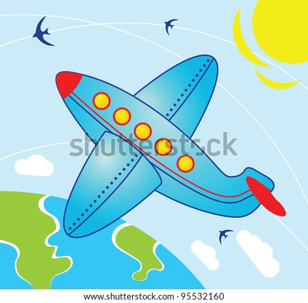 Airplane fly over the earth - Illustration in cartoon style - stock photo