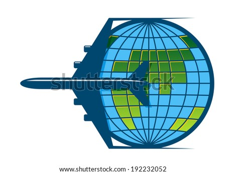 Airplane flying around the earth as a travel logo symbol. Vector version also available in gallery - stock photo