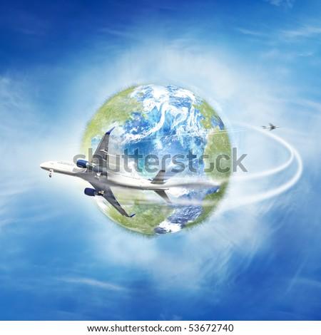 Airplane flying around the globe - stock photo