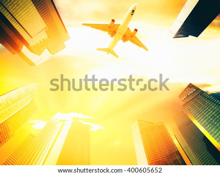 Airplane flying over business skyscrapers, architecture with commercial office buildings exterior. Transportation, travel. - stock photo