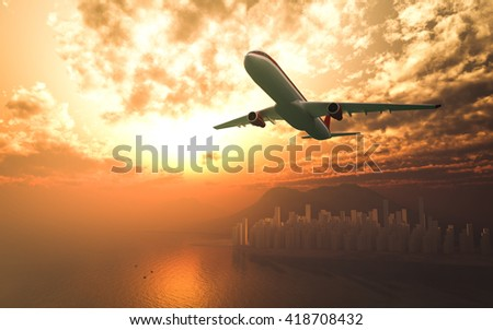 Airplane flying over the city sunrise 3d rendering