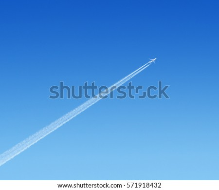 airplane high in the blue sky