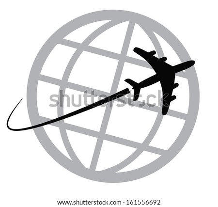 Airplane icon around the world - stock photo