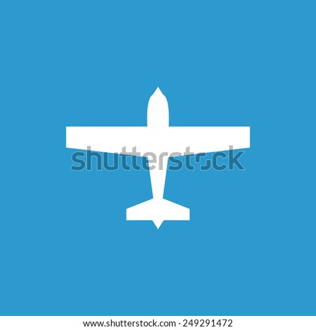 airplane icon, isolated, white on the blue background. Exclusive Symbols  - stock photo
