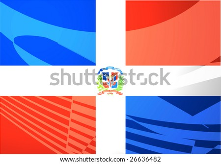 Airplane image superimposed over Flag of Dominican Republic, national country symbol illustration indicating commercial air travel - stock photo
