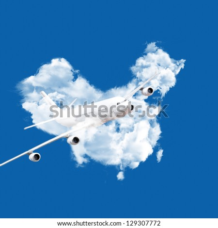 airplane in chinese clouds map - stock photo