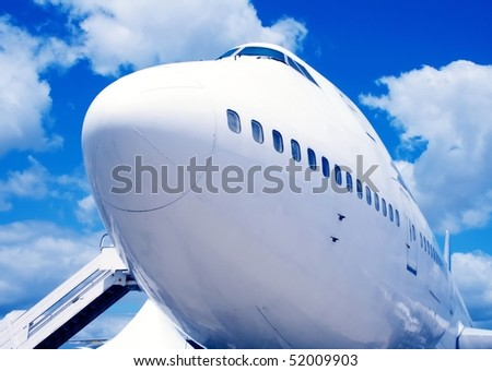 Airplane in europe airport - stock photo