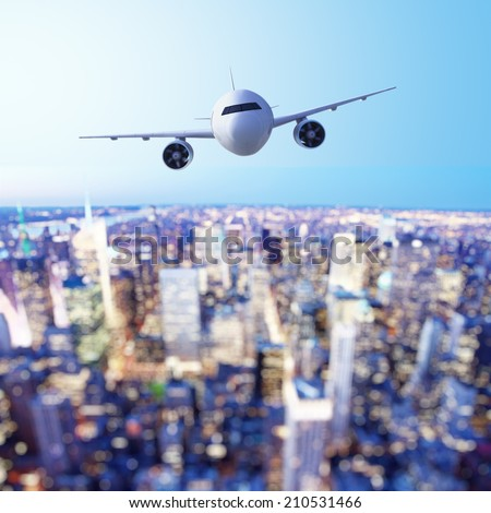 airplane in flight with bokeh background - stock photo