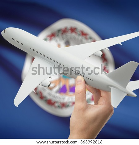 Airplane in hand with local US state flag on background series - Virginia - stock photo