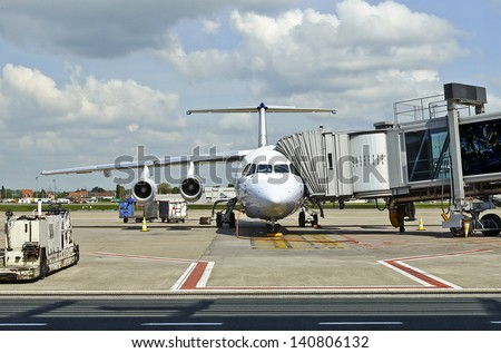 airplane in preparation - stock photo