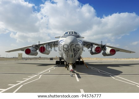 Airplane in the airport - stock photo