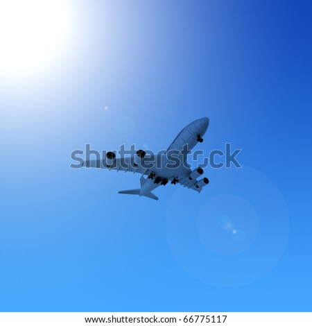 airplane in the blue sky - stock photo