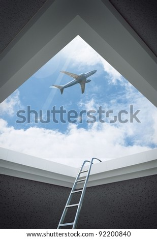 Airplane in the sky full of fluffy clouds - stock photo