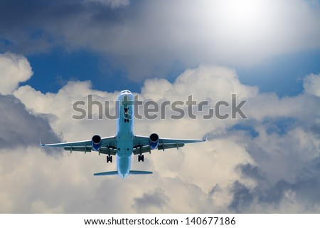Airplane in the sky Passenger Airliner Aircraft