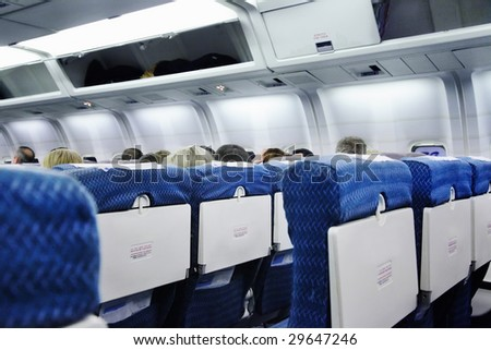 Airplane interior - stock photo