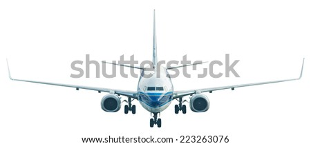 Airplane isolated on white background - stock photo